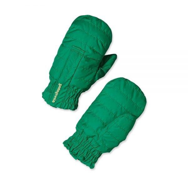 Patagonia Baby Puff Mitts verdi guantini bambino moffole