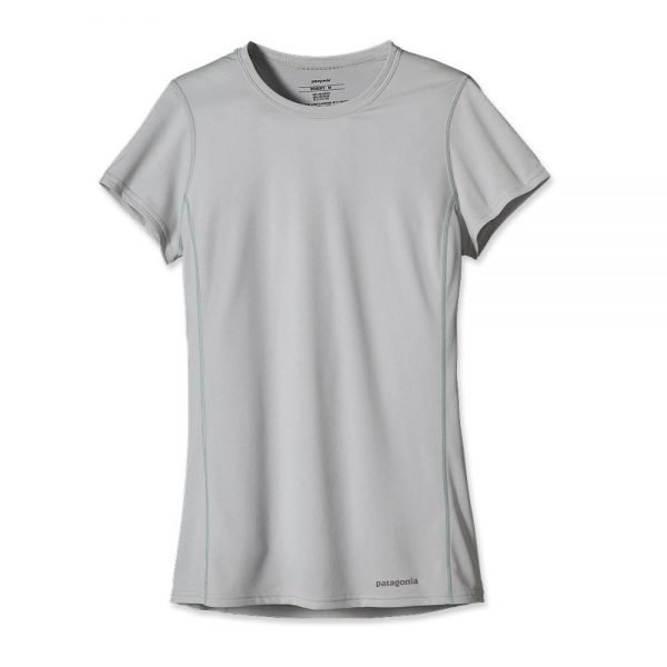 Patagonia Women's Short-Sleeved Fore Runner Shirt maglietta tecnica donna corsa grigia