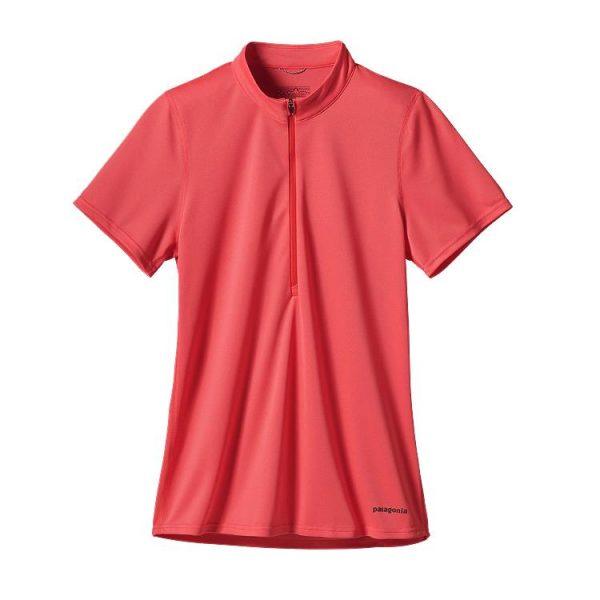 Patagonia Women's Short Sleeved Fore Runner Zip Neck t-shirt maglietta donna tecnica rosa corsa trekking