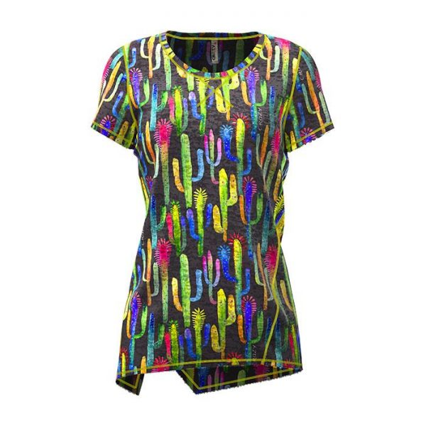 Crazy Idea T-Shirt Aloha Woman donna manica corta catcus