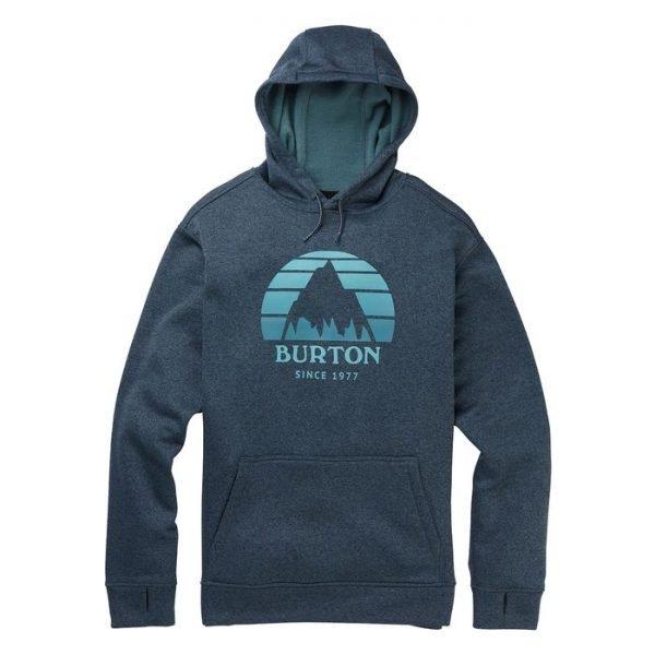 Burton Oak Pullover Hoodie Men felpa umo ragazzo da snowboard blu logo montagna