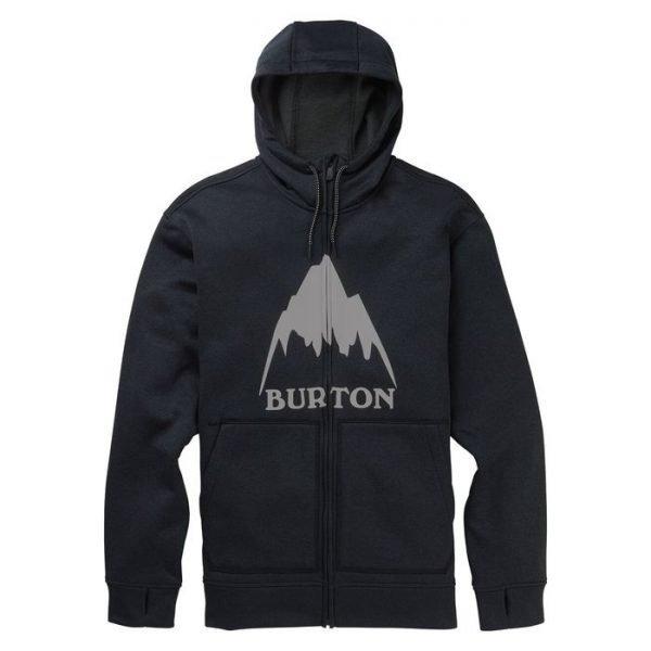 Men's Burton Oak Full-Zip Hoodie felpa uomo snowboard nera cappuccio