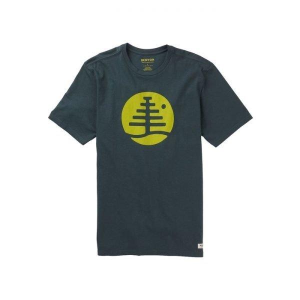 Men's Burton Family Tree Short Sleeve T Shirt blu scuro logo verde acido t-shirt uomo