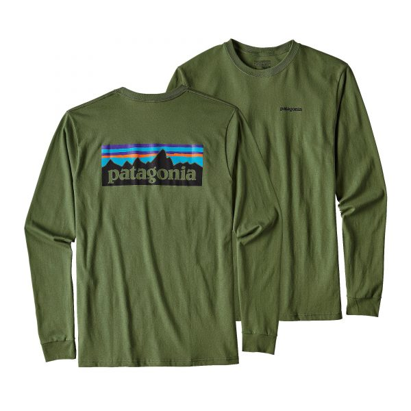 Patagonia T-shirt Manica Lunga Men's Long-Sleeved P-6 Logo Cotton colore Buffalo Green
