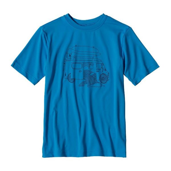 Patagonia Boys' Capilene SilkWeight Graphic Tee maglietta blu con pulmino