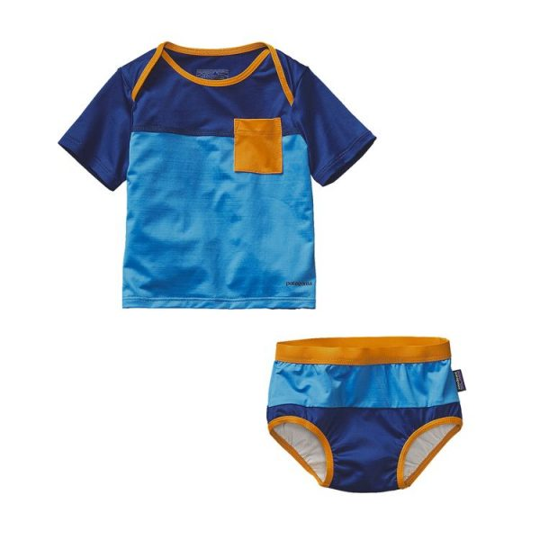 Patagonia Infant Little Sol Swim Set neonato bimbo mare blu costumino