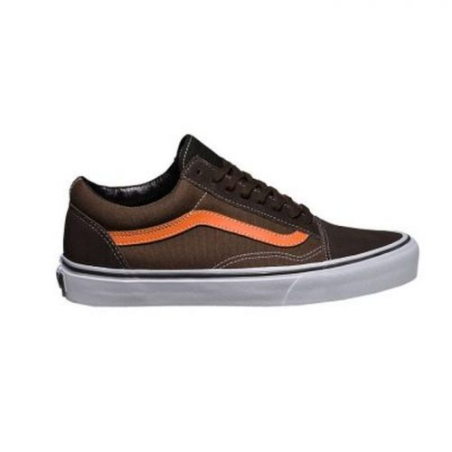 Vans Old Skool Suede Canvas Black Olive Golden Poppy scarpa marrone