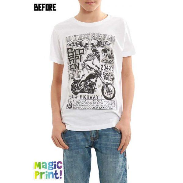 Scorpion Bay T-shirt Magic Print Ragazzo bianca motociclista teschio