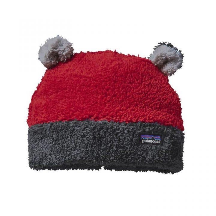 Patagonia Baby Furry Friends Hat cappellino orsetto con orecchie morbido rosso grigio neonato