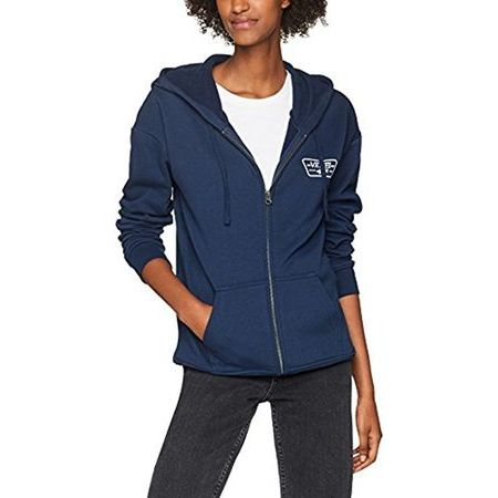 Vans Woman Full Patch Zip Hoody felpa donna blu cappuccio e zip