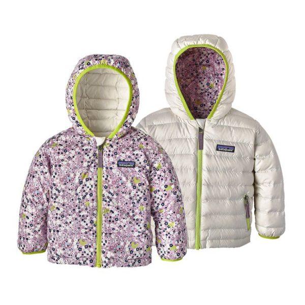 Patagonia Baby Reversible Down Sweater Hoody fiorellini bianco piumino bambina bimba neonata reversibile caldo piuma