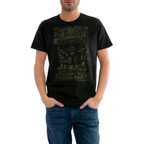 Scorpion Bay T-shirt teschio Mte3445 maglietta uomo nera