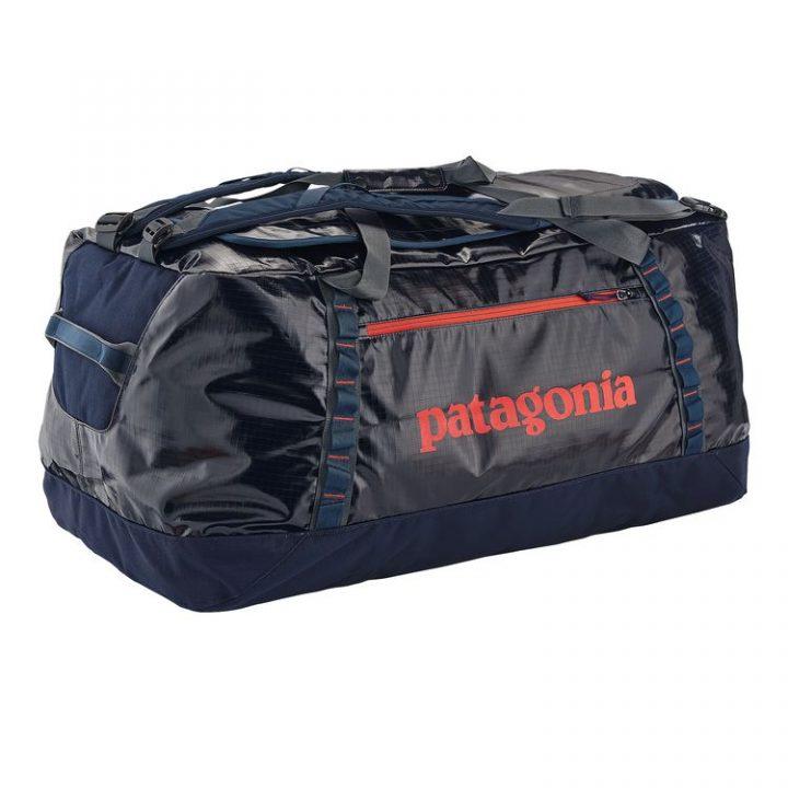 Patagonia Borsone Black Hole Duffel Bag 120L blu scritta rossa