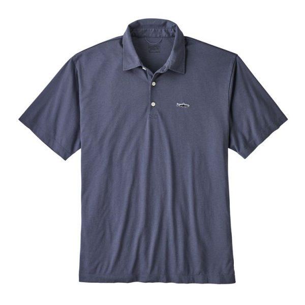 Patagonia Men's Polo - Trout Fitz Roy blu logo pesce