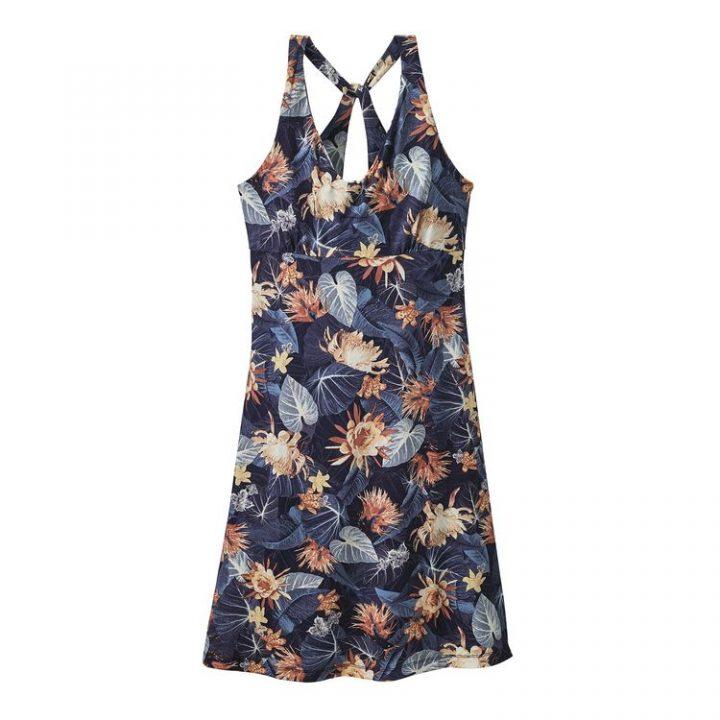 Patagonia Women's Magnolia Spring Dress railroad abito vestito elasticizzato fiori blu