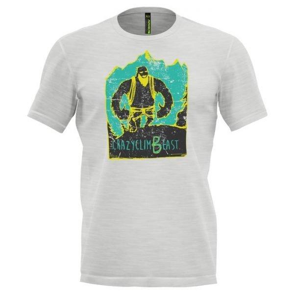 Crazy Idea T-Shirt Beast Man maglietta uomo arrampicata bianca