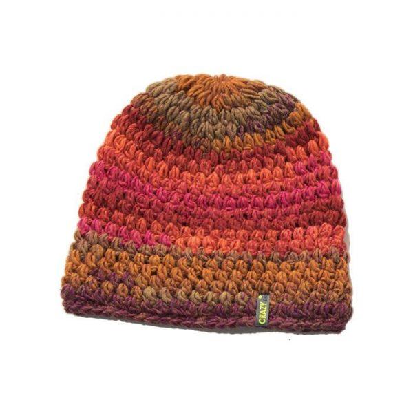Crazy Idea Cappellino Cap Rainbow lana invernale caldo rosso arancione