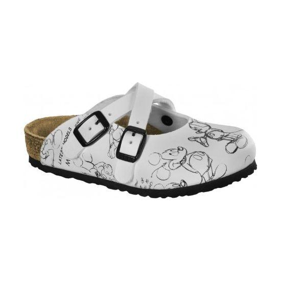 Birkenstock Dorian Mickey Mouse White bianche sandali ciabatte donna disney