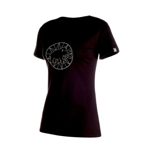 Mammut Logo T-shirt Women maglietta ragazza nera elefante