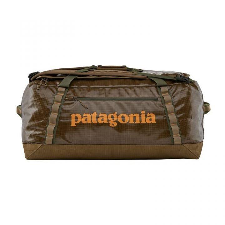Patagonia Black Hole Duffel Bag 70L marrone scritta arancione