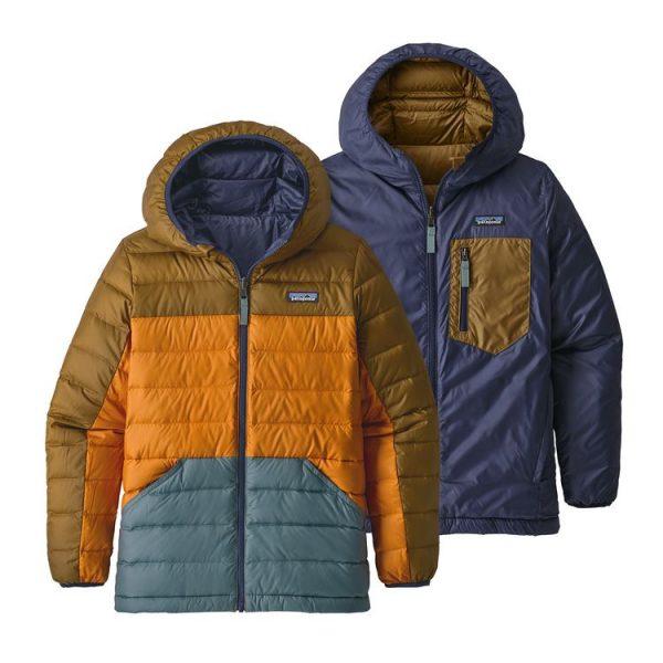 Patagonia Boys' Reversible Down Sweater Hoody piumino caldo ragazzo reversibile