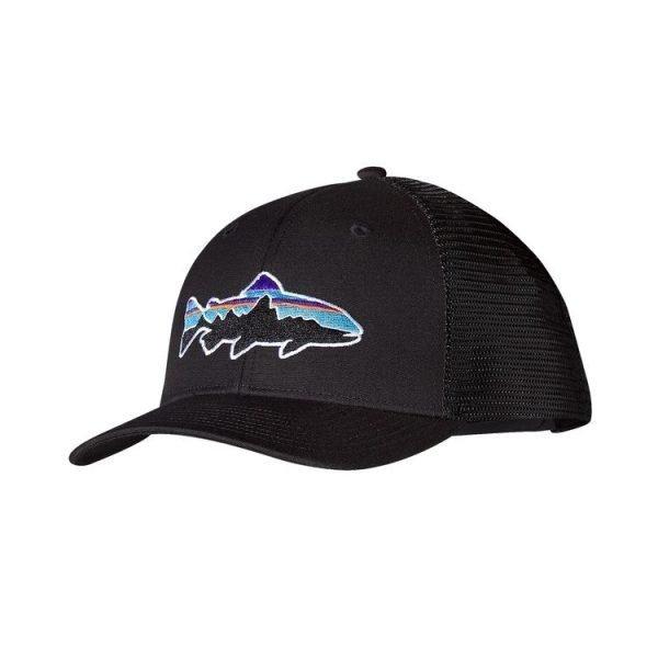Patagonia Fitz Roy Trout Trucker Hat black nero cappellino visiera logo salmone 38008_BLK
