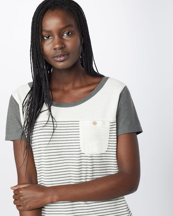Tentree w Hemp Piney t-shirt bianca e grigia a righine