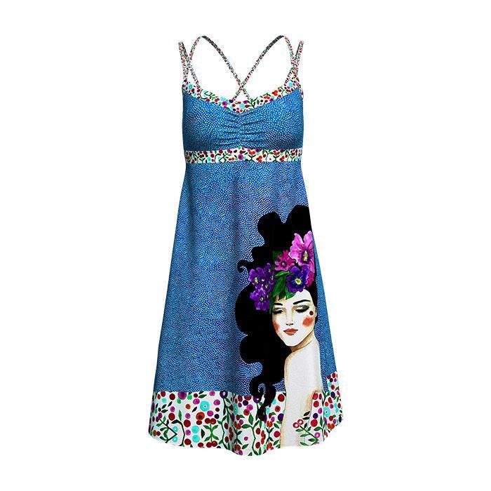 Crazy Idea Dress Kimera Woman vestitino vestitio estivo fantasia volto donna