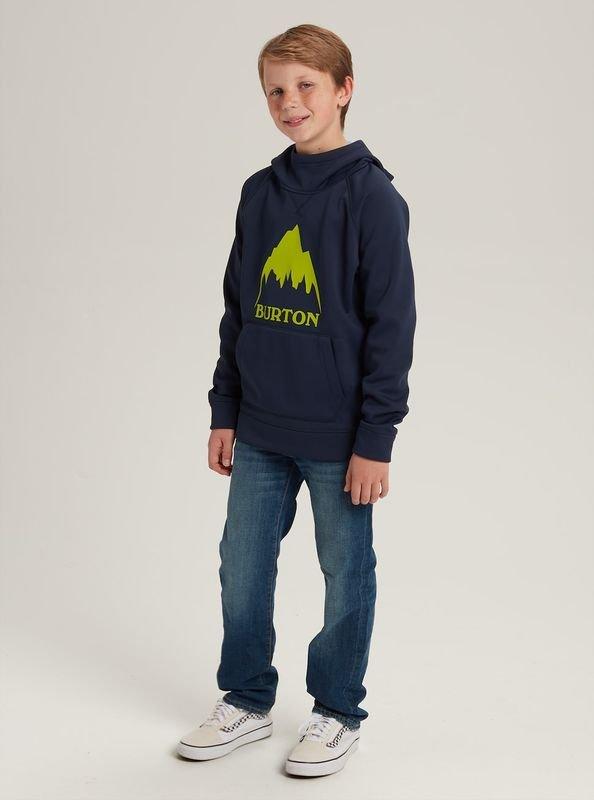 Boys' Burton Crown Bonded Pullover Hoodie felpa logo montagna verde e blu