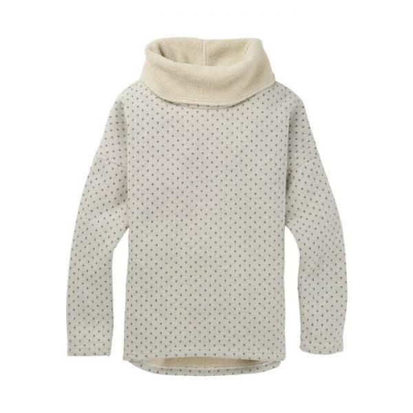 Women's Burton Premium Ellmore Pullover Hoodie felpa donna ragazza bianca crema con collo alto