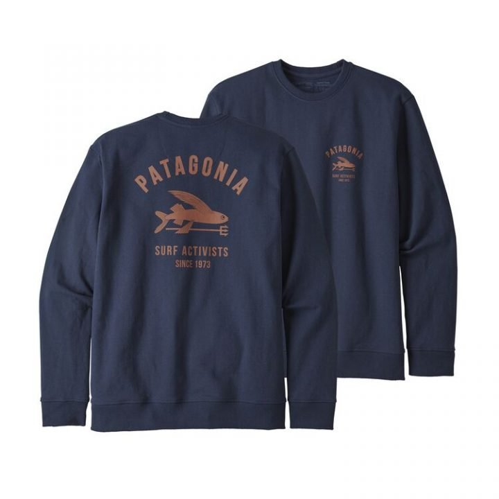 Patagonia Men's Surf Activists Uprisal Crew Sweatshirt felpa blu con pesce volante