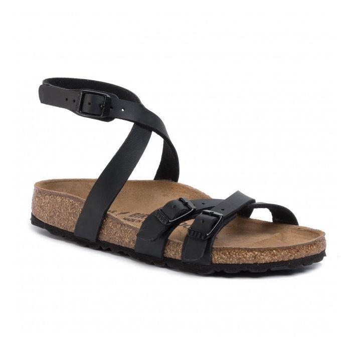 Birkenstock sandalo donna Blanca black nero intrecciato sulla caviglia