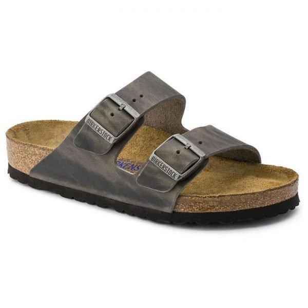 Birkenstock Arizona SFB Iron sandalo uomo doppia fibbia grigio