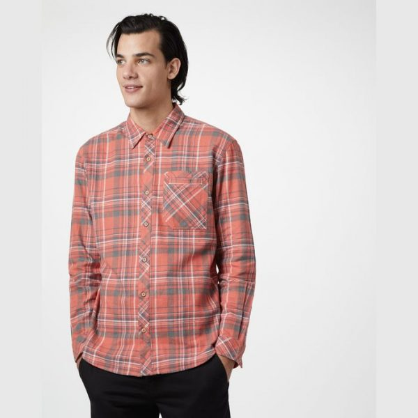 Tentree Men's Benson Hemp Button Up camicia maschile a quadrettoni rossi in canapa