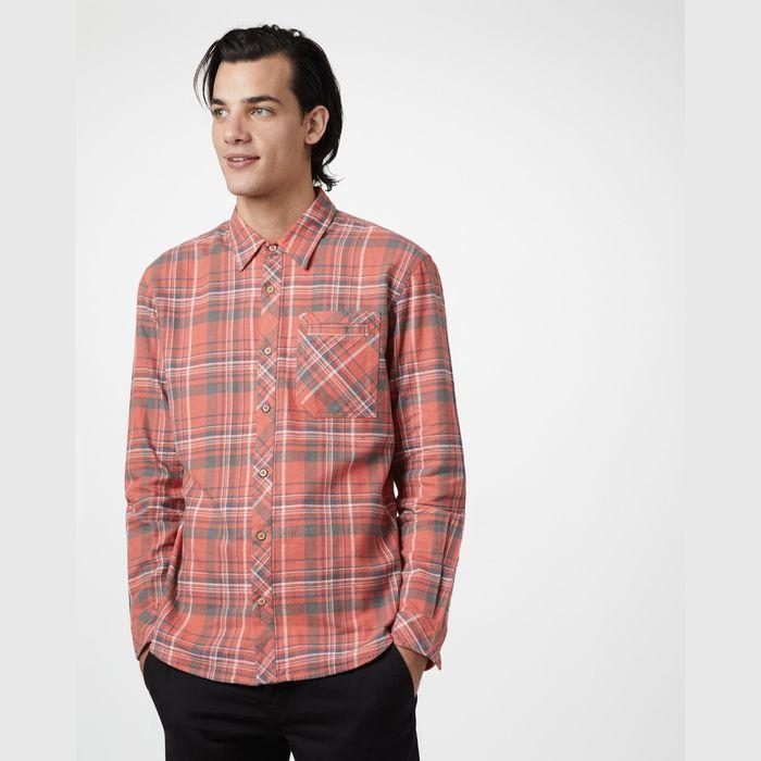 Tentree Men's Benson Hemp Button Up camicia maschile a quadrettoni rossi in canapa