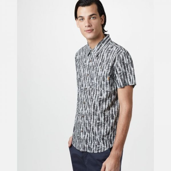 Tentree M Hemp Short Sleeve Button Up camiciotto estivo ragazzo con alberi