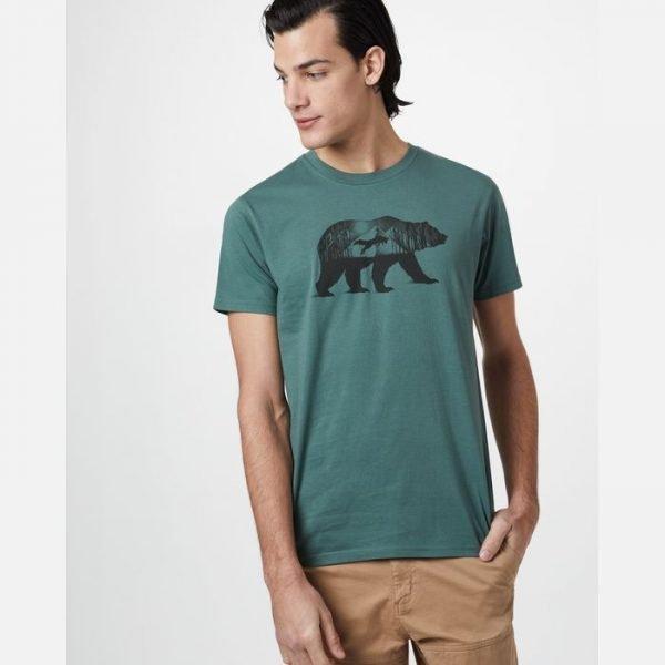 Tentree M Den Cotton Classic T-Shirt maglietta uomo verde con grafica orso volpe