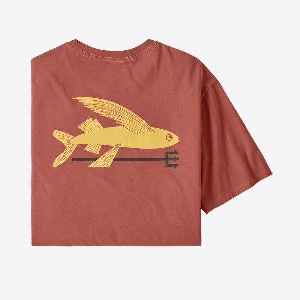 Patagonia Men's Flying Fish Organic Cotton T-Shirt colore mattone