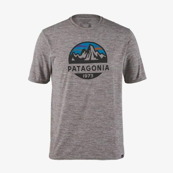 Patagonia Men's Capilene Cool Daily Graphic Shirt maglietta logo patagonia grigia