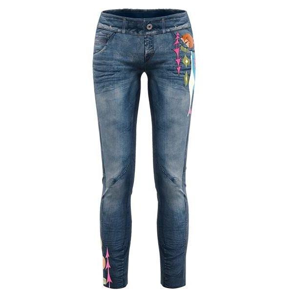 Pantalone dall'esclusivo look jeans, stampato pantalone print volpe