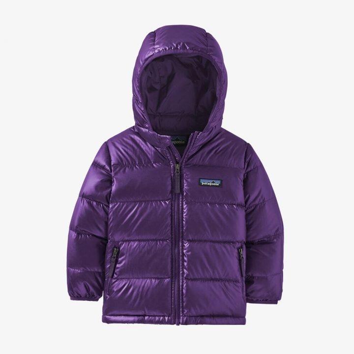 Patagonia Baby Hi-Loft Down Sweater Hoody piumino bimba bambina viola