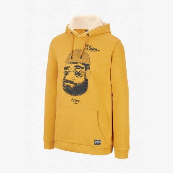 Picture Pinecliff Plush Hoodie felpa ragazzo uomo gialla grafica uomo barbuto