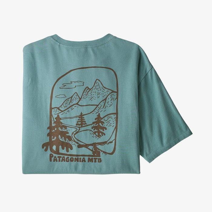 Patagonia Men's Roam the Dirt Organic Cotton T-Shirt maglietta uomo ragazzo grafica moutain bike bicicletta