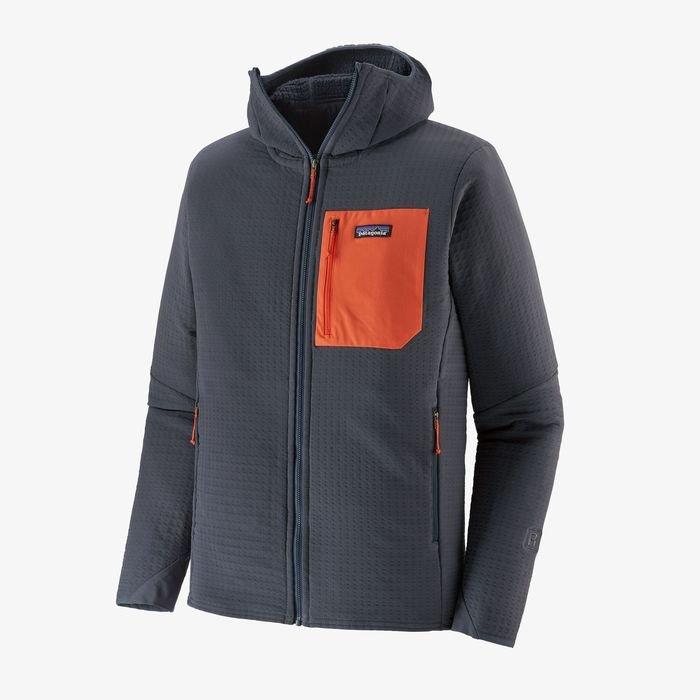Patagonia Men's R2® TechFace Hoody pile tecnico con cappuccio blu tasca rossa